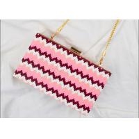 China Rectangular Shaped Party Clutch Purse With Point Wave Strip Front on sale