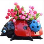 Quality polyresin Ladybug statue animal planter for garden decoration flower pot wholesale