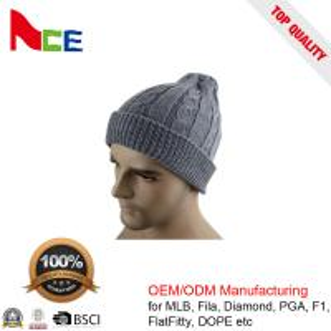 Quality Unique Unisex Fitted Beanie Hats / Grey Mens Winter Beanie Hats 56-60CM wholesale
