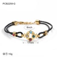 Quality Two Color Stainless Steel Bracelets Black Leather Rope With Stone wholesale