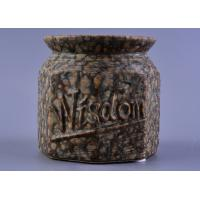 Quality Nut Pattern Ceramic Storage Jar / 440ml ceramic candle lantern With Rubber Foot wholesale