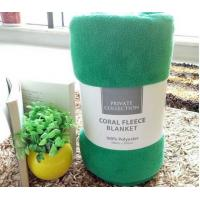 Green Color Luxury Coral Thick Fleece Blanket Soft Touch For Travel / Home