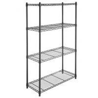 Quality 4 Tier Carbon Steel Adjustable Mobile Metal Display Racks , Black Powder Coating Easy Assembly  Metal Shelf with Casters wholesale
