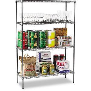 China Basic 4 - Layer Kitchen Storage Racks /  Black Wire Shelving Unit 42 W X 18 D X 60 H on sale