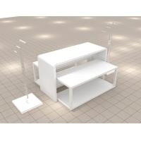 China High-end gloss white paint wooden store fixture table composition for retail store on sale