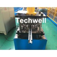 Quality PPGI , Galvanized Steel Guide Rail Roll Forming Machine With Disk Saw Cutting For Making Shutter Door Slats wholesale