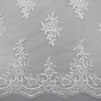 Quality Floral Embroidery Eyelash Corded Lace Fabric For Bridal Wedding Dresses wholesale
