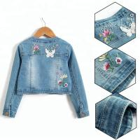 Quality Embroidery Snap button/Lace with Long sleeve denim jacket wholesale