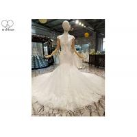 Quality Off White Ladies Bridal Gown / Sleeveless Fishtail Wedding Gown Beaded Lace wholesale