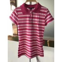 Buy cheap stock clothes for wholesale polo styles slim cutting women's short sleeve color stripe summer shirts garment inventory from wholesalers