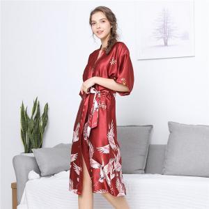 China Satin Kimono Bathrobe Women bath robe Bride Bridesmaid Wedding Robe Dress Gown Sexy Flower Long Sleepwear on sale