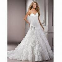 Quality V-neck Organza A-line New Design Wedding Dress/Bridal Gown, Various Colors are Available wholesale