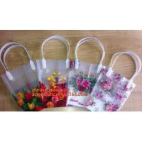 PP Trapezidal Rectangular Flower Package Bags,PP Flower Plastic Carry Bag with Tube Handle,flower pot bag printing PP pl
