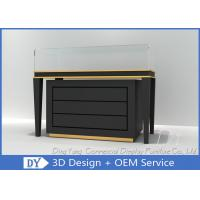 Quality Black Commercial Gold Shop Glass Counter with MDF Wood + Tempered Glass + Lights wholesale