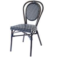 Quality 1.5mm Thick Aluminium Tube Black Bistro Dining Chairs wholesale