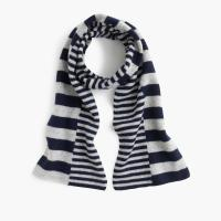 China Girls Knitted Wool Scarf , Intarsia Custom Knit Scarves With Non Symmetric Stripe on sale