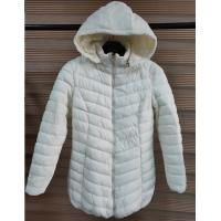 Quality White Womens Lightweight Quilted Padded Jacket With Fix Hoody And Fur Lining wholesale