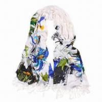 Quality Long Acrylic Scarf, Sunflower Printing/Fashionable Design/Various Uses, Customized Colors Accepted wholesale