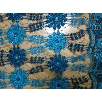 Quality 51/52 Blue Embroidered Lace Fabric Stretch For Ladies Dress wholesale