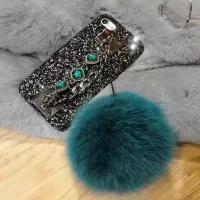 Quality DIY Luxurious Fox Fur Ball Gem Back Chain Shiny Black Sequins Cell Phone Case Cover For iPhone 7 6s Plus wholesale