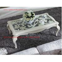 Quality Neoclassical style Coffee table in smart flower craft with tempered glass top and Teatable set with wood drawers wholesale