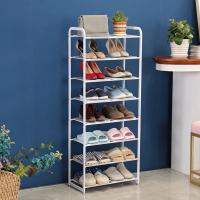 8 Tier Metal Mesh Shoe Rack White Color Powder Coating With Non - Slip Rods