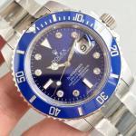 Quality Wholesale Rolex Blue Submariner 40mm Automatic 3135 Blue Dial SuperLium Diamonds Marks Blue Ceramic Bezel Watch wholesale