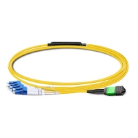 China 1m (3ft) MPO Female to 4 LC UPC Duplex OS2 9/125 Single Mode Fiber Breakout Cable, 8 Fibers Type B, Elite, LSZH, Yellow on sale