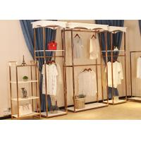 Quality Store Wall Racks / Retail Clothing Racks Rose Gold Mirror Stainless Steel Plus Wood wholesale