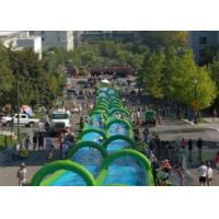 China Outdoor Inflatable Slide The City Huge Water Slide 2 Lanes Quadruple Stitching on sale