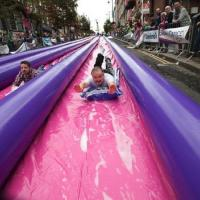 China 500ft Exciting Big Inflatable Slides , 3 Lane Long Water City Slide on sale