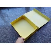 Yellow Carton Hard Cardboard Gift Boxes , Magnet Flat Custom Size Gift Boxes