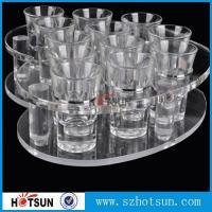 Cheap acrylic beer tasting tray holder / acrylic tray cup holder / acrylic shot glass tray for bar for sale