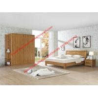 Quality Nordic design Bedroom furniture by teak wood bed and nightstand with large size open door wardrobe wholesale