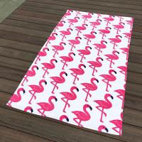 Quality Pink Crane White Pool Beach Towels Non - Fade Water Based Prints For Picnic Cover wholesale