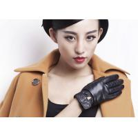 Quality Classic Women Ladies Winter Leather Gloves With Embroidery Belt Cuff Elastic Wrist wholesale