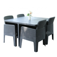 Quality W160cm H75cm Table 4 Seater Rattan Dining Set , Wicker Rattan Table And Chairs For Garden wholesale