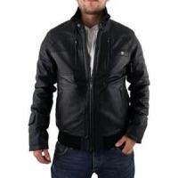 China XL XXXL XLL 100% polyester men Fleece Lined Leather jacket with fur collar on sale