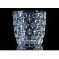 Quality Eco - Friendly 300ml Clear Glass Candle Holders With Nail Embossed Pattern wholesale