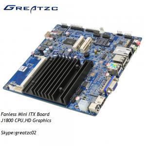 Industrial Grade Fanless Motherboard Dual Core J1800 CPU , LVDS HDMI VGA Display