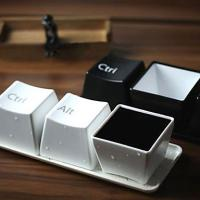 Quality Keyboard Button Style Porcelain Cups Set (Set of 3, Assorted Colors) wholesale