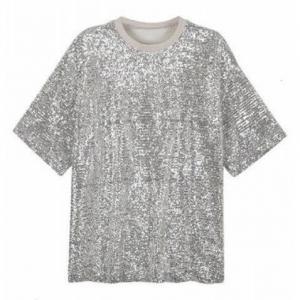China Bulk Mens Sequin T Shirt , Polyeste  Back Zipper Metallic Silver T Shirt on sale