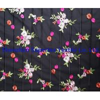 Quality Flowers Embroidery Black 100 polyester fabric for Kids' and Women's wholesale