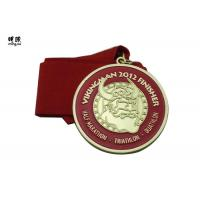 Quality Long Distance Running Champion Custom Award Medals With Red Color Ribbon Lanyard wholesale