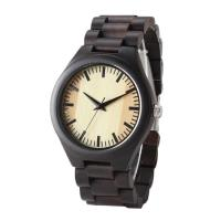Quality Custom Wooden Quartz Watch Auto Date Portable Handcrafted Simple Design For Men wholesale