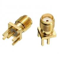 China Brass Shell RF Connector , R/A SMA Straight Female PCB Connector on sale