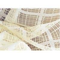 Quality Embroidered Voile Curtain Fabric , White Striped Voile Fabric 65GSM wholesale
