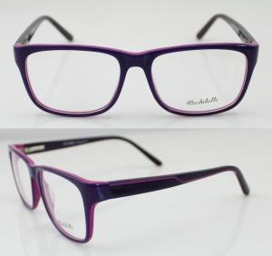 Quality Purple / Blue Oval Hand Made Acetate Big Eyeglass Frames For Unisex wholesale