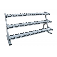 Quality Silver Color Gym Fitness Equipment High Strength Three Tier Dumbbell Rack wholesale