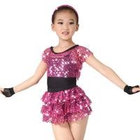 China Children Girls Dance Outfit Sequin Jazz Dance Clothes Sleeveless With Tank Top Tiers Skirt Black Leotard on sale